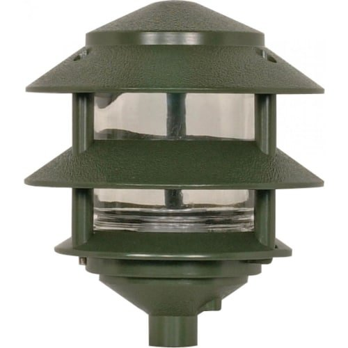 Nuvo Lighting SF77/323 One Light Two Louver Small Hood 120 Volt Die Cast Aluminum Durable Outdoor Landscape Pathway Lighting, Green (2 Tier Lamp)