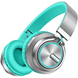 Picun Bluetooth Headphones 20 Hrs Playtime, Romantic LED Light HiFi Stereo Wireless Headphones Over Ear with Mic, Soft Protein Earpad, Foldable, Wired/TF Mode for PC TV Cellphone Tablet (Grey/Mint)
