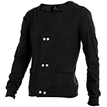 Allegra K Men Long Sleeves Double Breasted Buttoned Cardigan