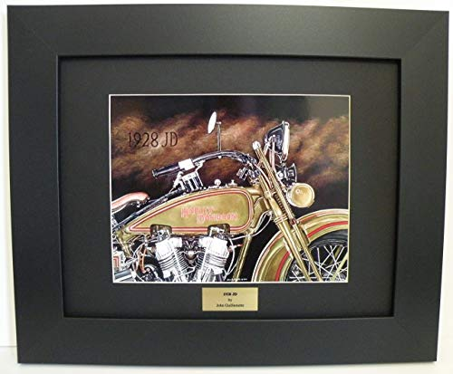 Hand Vintage Signed (Limited Edition Custom Framed Motorcycle Art print, Vintage 1928 JD Harley Davidson, Hand Signed Numbered Wall Art with Certificate - Original Painting by John Guillemette)