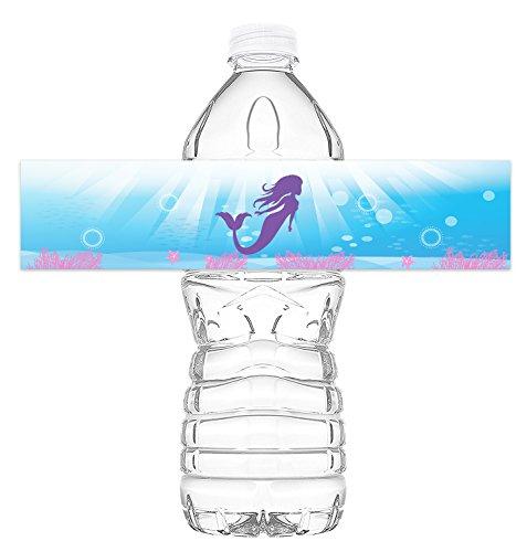 Mermaid Bottle Wraps - 20 Mermaid Water Bottle Labels - Mermaid Under the Sea Decorations - Made in the ()