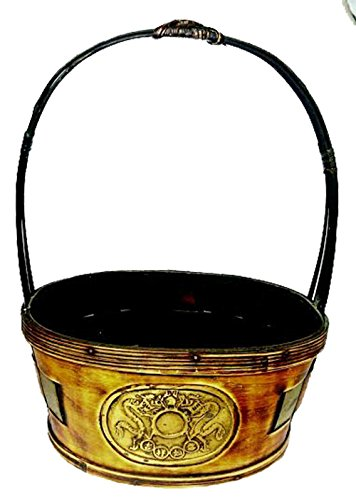 WOOD BASKET WITH BRASS COLORED INLAY OF DRAGONS AND ASAIN CHARACTERS 19097