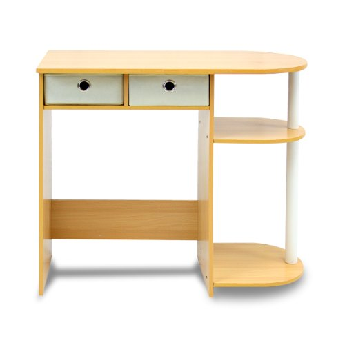 Furinno 11193BE/WH/IV Go Green Home Computer Desk/Table, Beech/Ivory/White