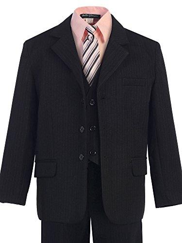 lack Pinstripe 5-piece Suit with Color Shirt (7, Pink) ()