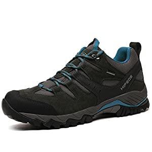 HIFEOS Hiking Boots For Mens Womens Unisex Suede Leather Outdoor Waterproof Backpacking Shoes Grey 9 D(M) US