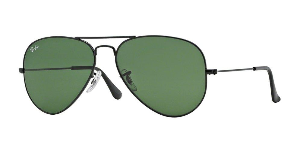 Ray-Ban Aviator Large Metal Sunglasses Black/Crystal Green, L
