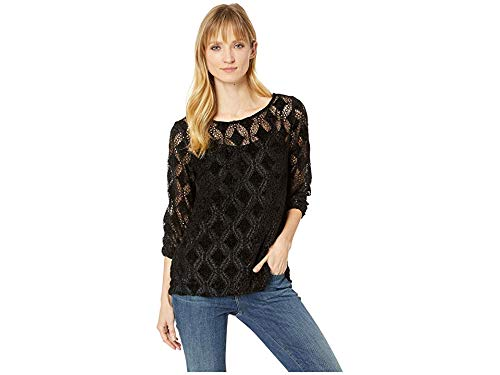 - Mod-O-Doc Women's Diamond Chenille Lace 3/4 Sleeve Ballet Neck Top Black Large