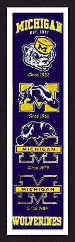 Winning Streak Michigan Wolverines 14x38 Inch Framed Embroidered Heritage Banner
