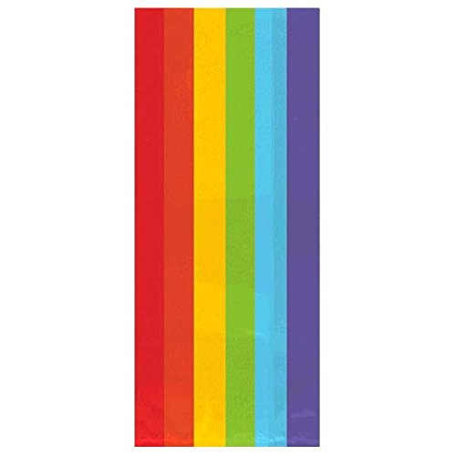 Colorful Large Cellophane Party Bags – Rainbow Party Favor and Treats, 5″ x 11.5″ x 3″ Pack of 25