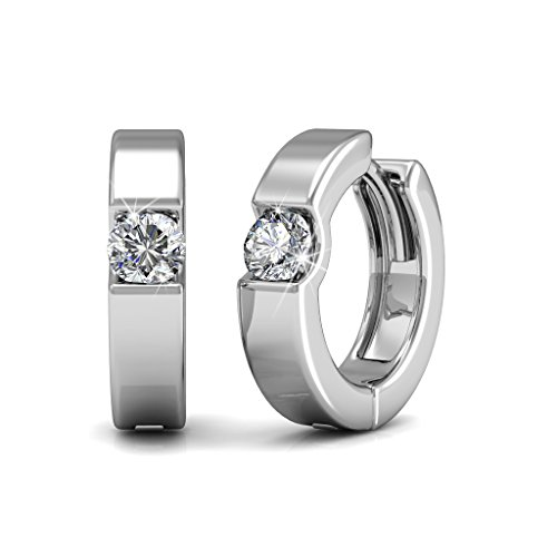 Cate & Chloe Charlie 18k White Gold Plated Hoop Earrings with Swarovski Crystals, Small Crystal Hoops for Women, Solitaire Stone Earring Set, Silver Round Ring Earrings, Butterfly Clasp - MSRP $130
