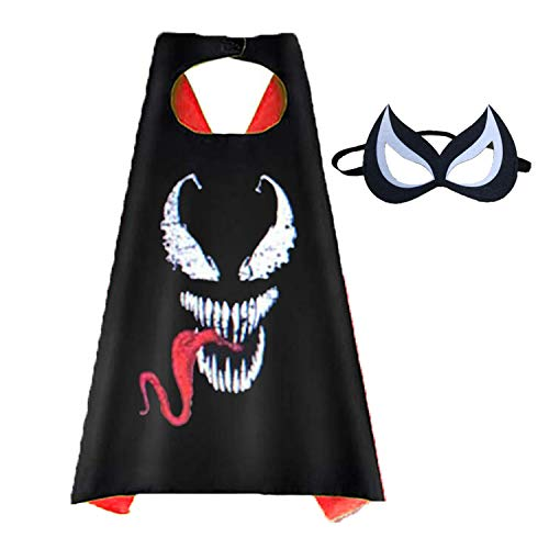 Aodai Halloween Costumes and Dress up for kids - Venom Costume Cape and Mask ()