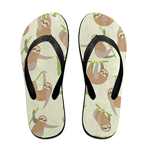Ladninag Flip Flops Funny Cartoon Sloth Women's Beach Slippers Brazil Sandals for ()
