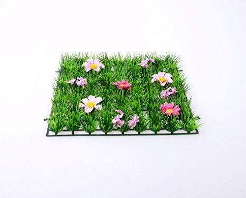 set-of-2-4-artificial-grass-mat-party-table-decorations-flower-placemat-decor-for-girls-flower-party