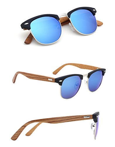 TIJN Mens Bamboo Wooden Semi-Rimless Horn Rimmed Wayfarer Clubmaster - Women Sunglasses For Rimless Semi