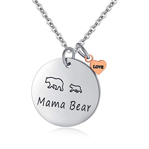 Pendant Mama 1 (JSstudio Mama Bear Jewelry Personalized Hand Stamped Stainless Steel Pendant Necklace Cute Momma Baby Bears Cub Sweet Gifts for Mom Mother Women Wife Family Mother's Day Birthday Gifts(Necklace 1 cub))