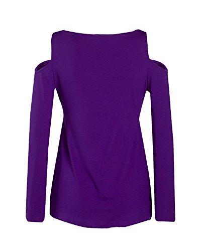 Las Mujeres Blusas de manga larga de las tapas ocasionales de la camiseta Tops Morado