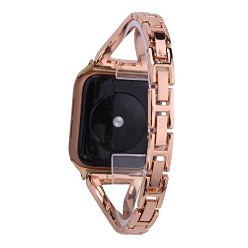 GANENN Compatible Apple Watch Band 40mm / 44mm- Women Girls Luxury Bling Crystal Diamonds Replacement iWatch Bands Jewelry Bracelet Bangle Wristband for Apple Watch Series 4/3/2/1 (40mm, Roes ()