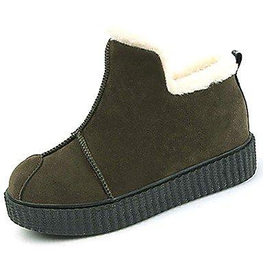 US8 Negro Invierno Verde Zapatos Botas EU39 Botines UK6 Casual Gamuza Moda Botines De RTRY De Pu Mujer Confort CN39 Ejército Toe Botas Ronda UHf4wAqw