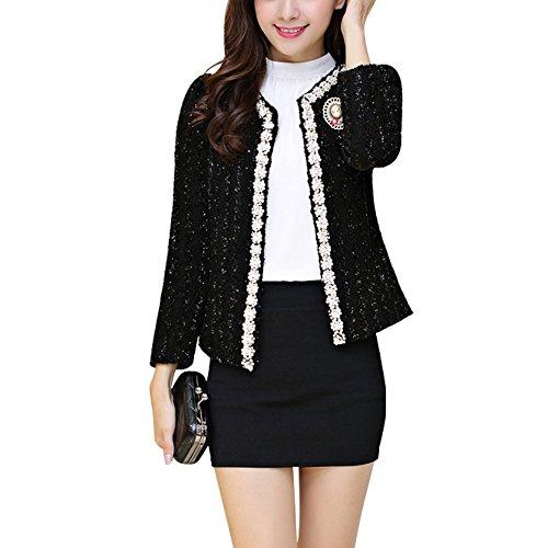 NJunicorn Uncle Women Tweed Sequin Inlaid Long Sleeved Blazer Fly Away Fringe Jacket Coat Outwear(Black 4/6)