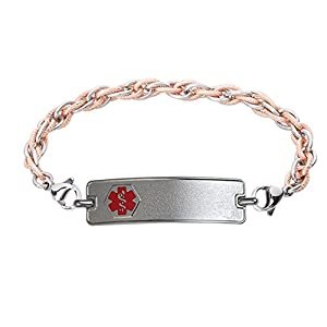 Divoti Custom Engraved 316L Small Classic Medical Alert Bracelet -Inter-Mesh Rose Gold/Silver Chain - Red by Divoti Inc.