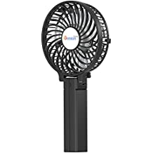 Mini Handheld Fan, VersionTECH. Personal Portable Desk Stroller Table Fan with USB Rechargeable Battery Operated Cooling Folding Electric Fan for Office Room Outdoor Household Traveling Black