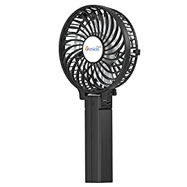 VersionTECH. Mini Handheld Fan, USB Desk Fan, Small Personal Portable Stroller Table Fan with USB Rechargeable Battery Operated Cooling Folding Electric Fan for Travel Office Room Household 4 【Hanging Umbrella Design】: Unique design style, you can hang the fan above your umbrella or parasol.The design is ideal for outdoor crowds, and you don't have to worry about the outdoors even when the temperature is so high, because this fan can cool you down,It's a must-have for the summer. 【Folding And Multipurpose Design】: This fan can fold up to 180°.You can use this fan: ①hold it on your hand, ②put it on the table, ③hang it on the sun umbrella, ④clip it on other objects; If you don't know how to use it, please look at the picture or contact us. If you find better uses, you can also tell us. 【ENERGY SOURCE】: This fan is a USB port rechargeable model. It can also be powered directly by batteries, but you must remove the insulation from the battery compartment, otherwise it will not be recharged or used.USB cable can be charged with computer, mobile power, power bank and so on.
