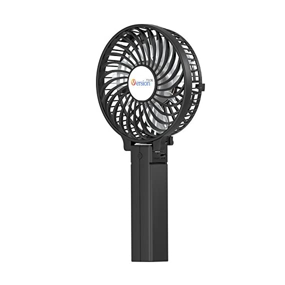 VersionTECH. Mini Handheld Fan 1 【Hanging Umbrella Design】: Unique design style, you can hang the fan above your umbrella or parasol.The design is ideal for outdoor crowds, and you don't have to worry about the outdoors even when the temperature is so high, because this fan can cool you down,It's a must-have for the summer. 【Folding And Multipurpose Design】: This fan can fold up to 180°.You can use this fan: ①hold it on your hand, ②put it on the table, ③hang it on the sun umbrella, ④clip it on other objects; If you don't know how to use it, please look at the picture or contact us. If you find better uses, you can also tell us. 【ENERGY SOURCE】: This fan is a USB port rechargeable model. It can also be powered directly by batteries, but you must remove the insulation from the battery compartment, otherwise it will not be recharged or used.USB cable can be charged with computer, mobile power, power bank and so on.