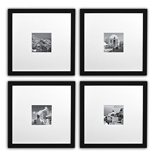 Real White Collection - Golden State Art Smartphone Instagram Frames Collection, Set of 4, 11x11-inch Square Photo Wood Frames with White Photo Mat & Real Glass for 4x4 photo, black