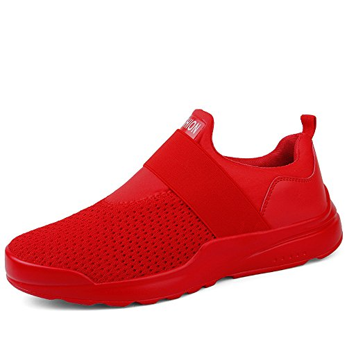 XIANV Laufschuhe Männer Atmungsaktive Mode Turnschuhe Slip-On Outdoor Sportschuh Männer Fitness Wanderschuhe rot