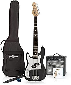 Bajo LA 3/4 para Zurdos + Pack de Ampli de 15W - Negro: Amazon.es: Instrumentos musicales