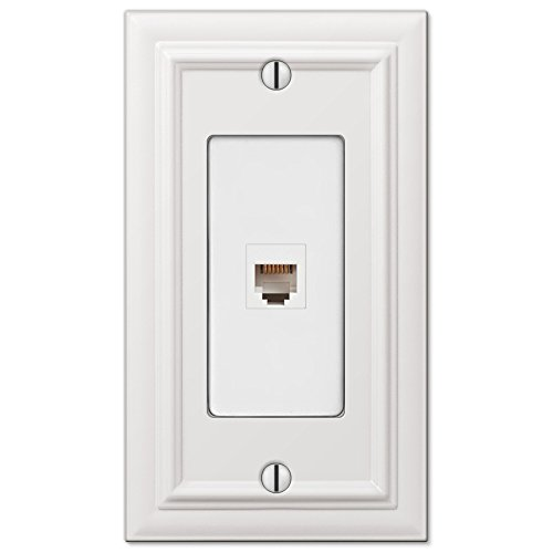 Amerelle Continental Single Phone Cast Metal Wallplate in White ()