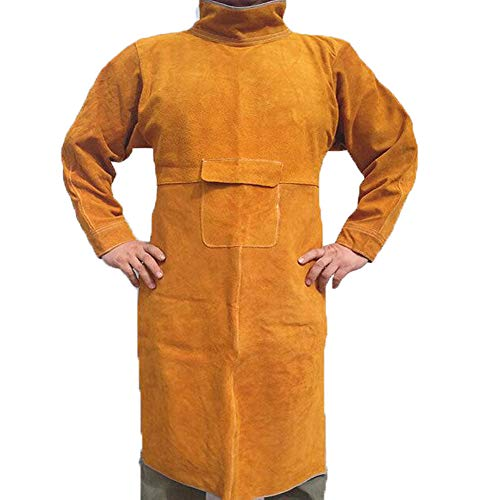 "Jewboer Durable Leather Welding Jacket Long Heavy Duty Welding Clothes Coat Anti-scald Flame Resistant Welding Apron with Neck Sleeves for TIG Welding 45.2"" Lengths"