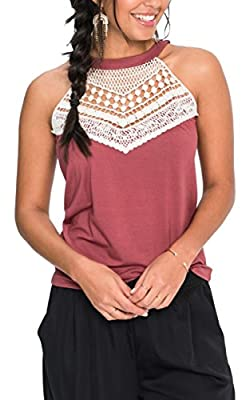 Angashion Women's Sleeveless Halter Neck Lace Splicing Tank Top Vest