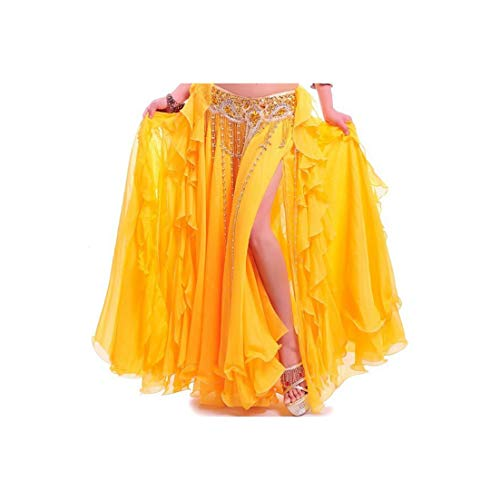Bellydancing Skirts Belly Dance Skirt Costume Training Dress Or Performance 6001,Yellow,One -