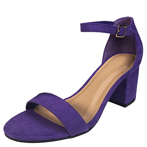 (BAMBOO Women's Block Heel Sandal with Ankle Strap, Purple Faux Suede, 6.0 B US)