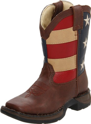 Durango Kids BT245 Lil' 8 Inch Patriotic,Brown/Union Flag,5 - Durango Girls Cowboy Boots
