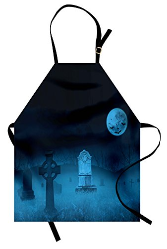 Lunarable Gothic Apron, Ghostly Graveyard Illustration Horror Halloween Dead Danger Theme Full Moon Bat Mystery, Unisex Kitchen Bib Apron with Adjustable Neck for Cooking Baking Gardening, Blue