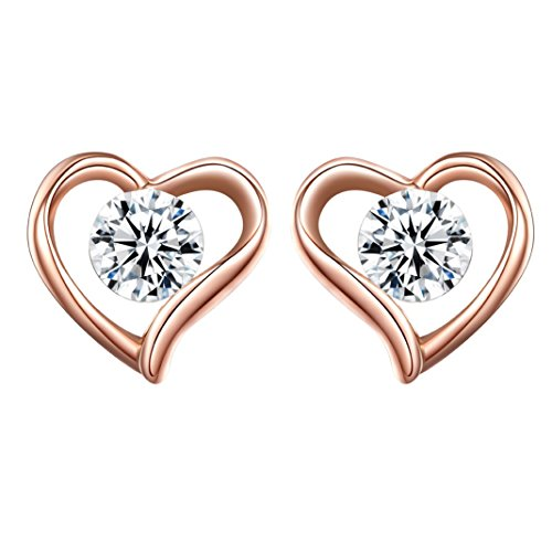 [Stud Earrings, Plemo Rose Gold Plated Heart-Shaped Jewelry Earrings Studs with Clear Zirconia] (Father Of The Year Costume)