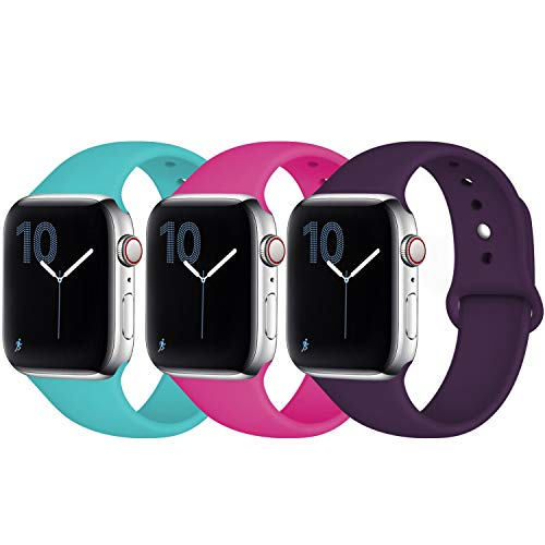 Fuleda Compatible with Apple Watch Band 44mm 42mm, iWatch Band 44mm 42mm, 3 Pack, Teal/Rose Pink/Plum, M/L