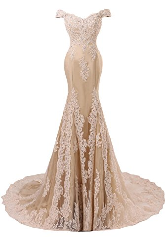 DINGZAN Vintage Cap Sleeves Evening Gowns Mermaid Lace Applique Prom Formal Dresses Wedding Reception Dress for Bride 10 Champagne -