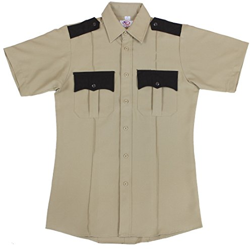 Police Uniform (First Class Two Tone Short Sleeve Shirt-Tan & Brown/Large)