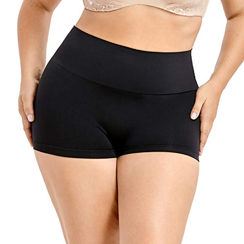 Control Boyshort - DELIMIRA Women's Everyday Seamless Boyshort Tummy Control Shaping Panties Black. M