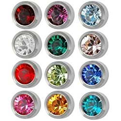 Surgical Steel 4mm Ear piercing Earrings studs 12 pair Mixed Colors White Metal by Caflon