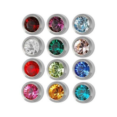 (Surgical Steel 4mm Ear piercing Earrings studs 12 pair Mixed Colors White Metal by Caflon)