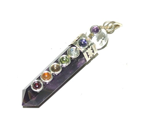 (Amethyst 7 Chakra Crystal Ball Gemstone Facet Point Reiki Healing Pendant)