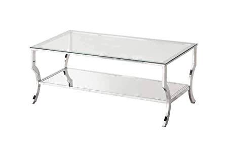 Coaster 720338-CO Glass Top Coffee Table, Chrome