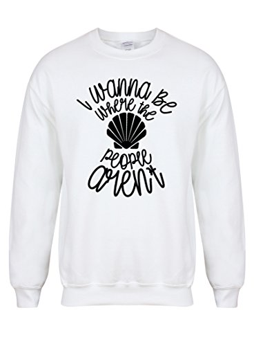 Kelham Print Unisex Slogan Sweater Jumper I Wanna Be Where The People aren't White Large with Black]()