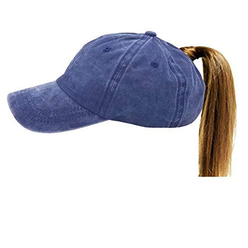 (Eohak Distressed-Washed Ponytail Baseball Hat - Women Men High Messy bun Baseball Cap Retro Washed Cotton Twill (Denim Blue))
