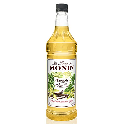 Monin - French Vanilla Syrup with Monin BPA Free Pump, Boxed, Versatile Flavor, Natural Flavors, Great for Coffees, Cocktails, Shakes, and Kids Drinks, Vegan, Non-GMO, Gluten-Free (1 Liter)