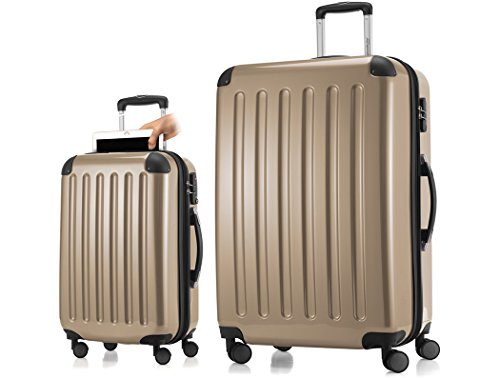 HAUPTSTADTKOFFER Alex plus Luggages Set Hardside Spinner Trolley Expandable (20'28') 2 Pcs Champange